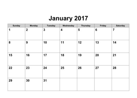 2017 Calendar In Word | yearly calendar template