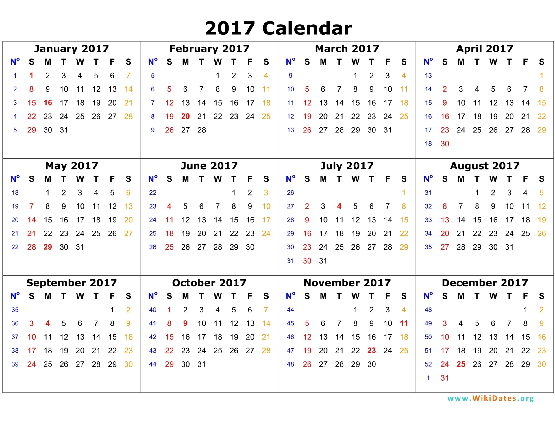 2017 Calendar One Page | 2017 calendar with holidays