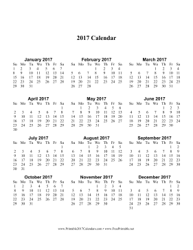 Printable 2017 Calendar one page with Large Print (vertical)