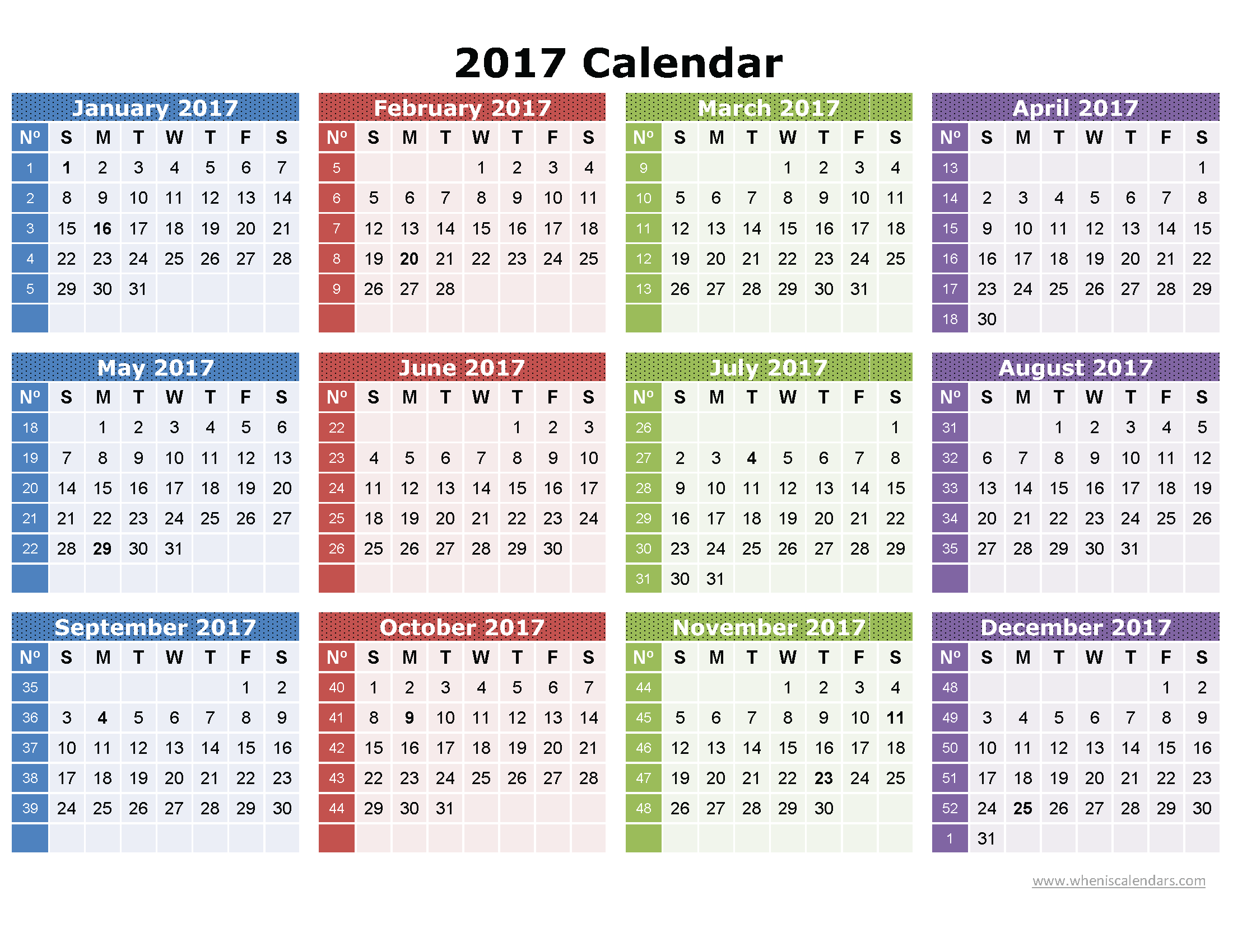 Printable 2017 Calendar on one page (vertical)