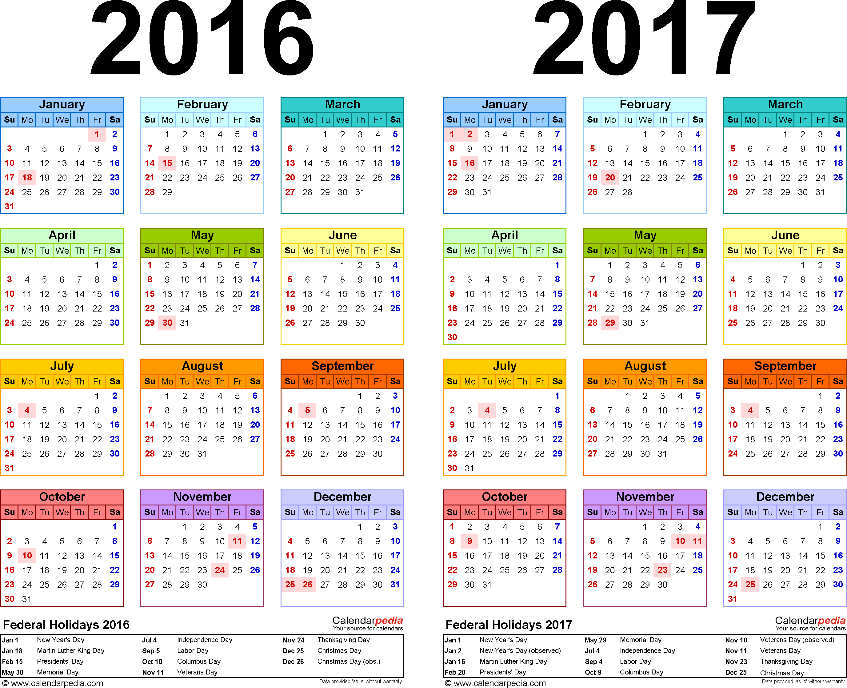 2016 2017 Calendar free printable two year PDF calendars