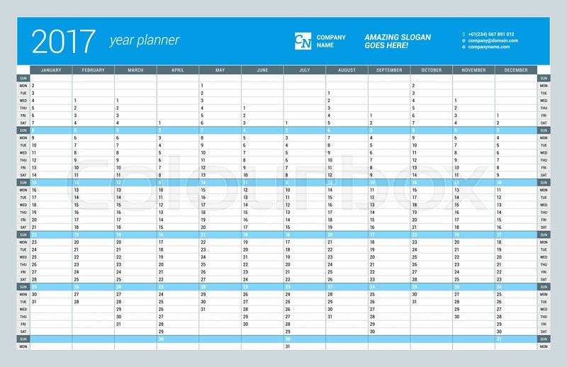 2017 Excel Calendar Planner Free Printable Templates