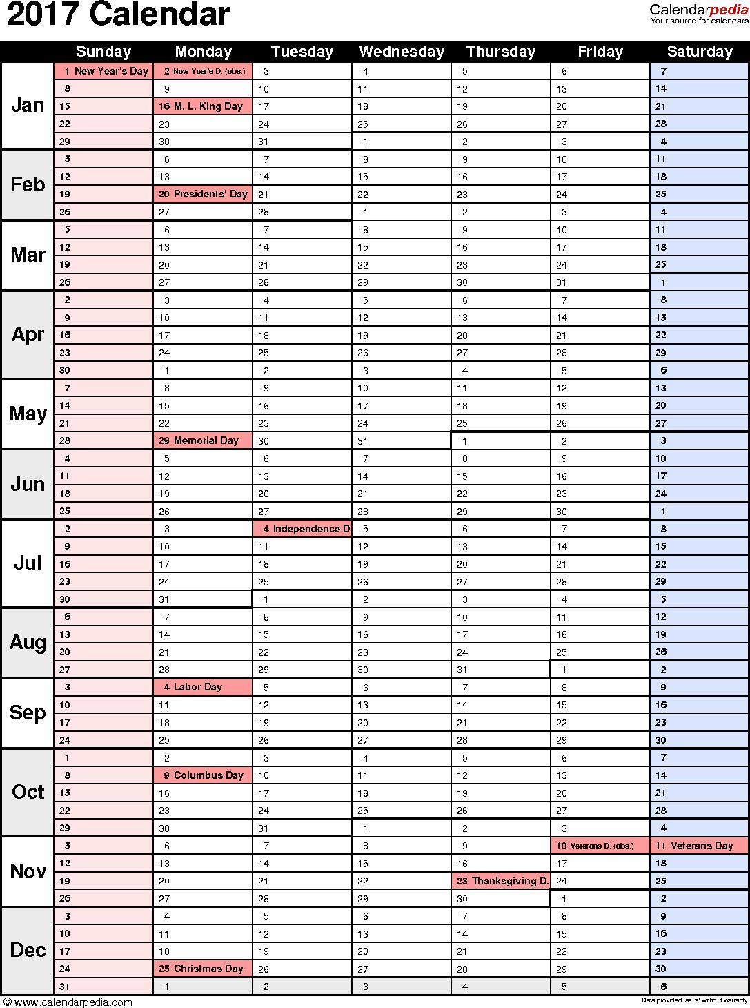2017 Calendar Planner | 2017 calendar with holidays