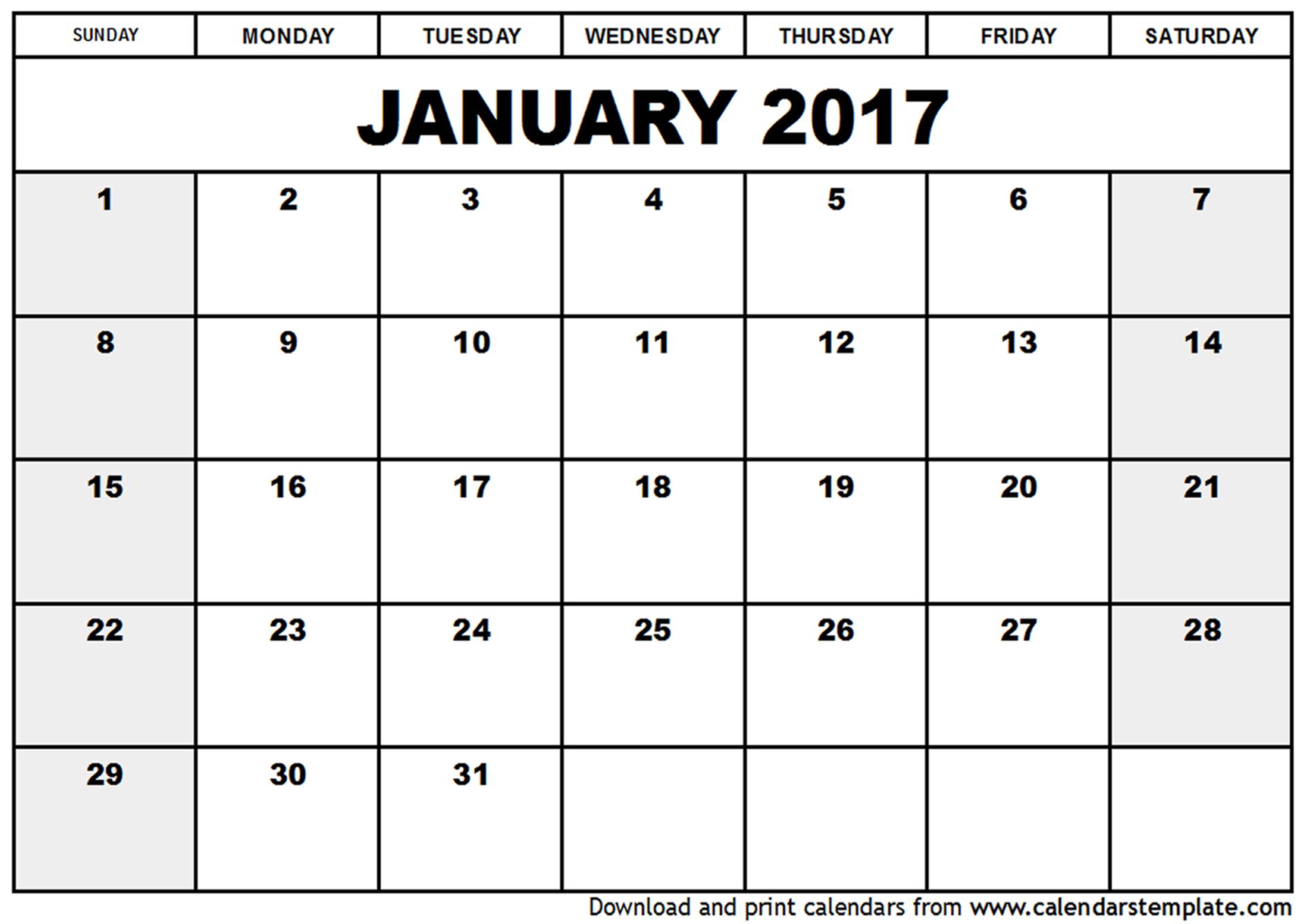 Free Printable January 2017 Calendar Word PDF Doc Excel Notes