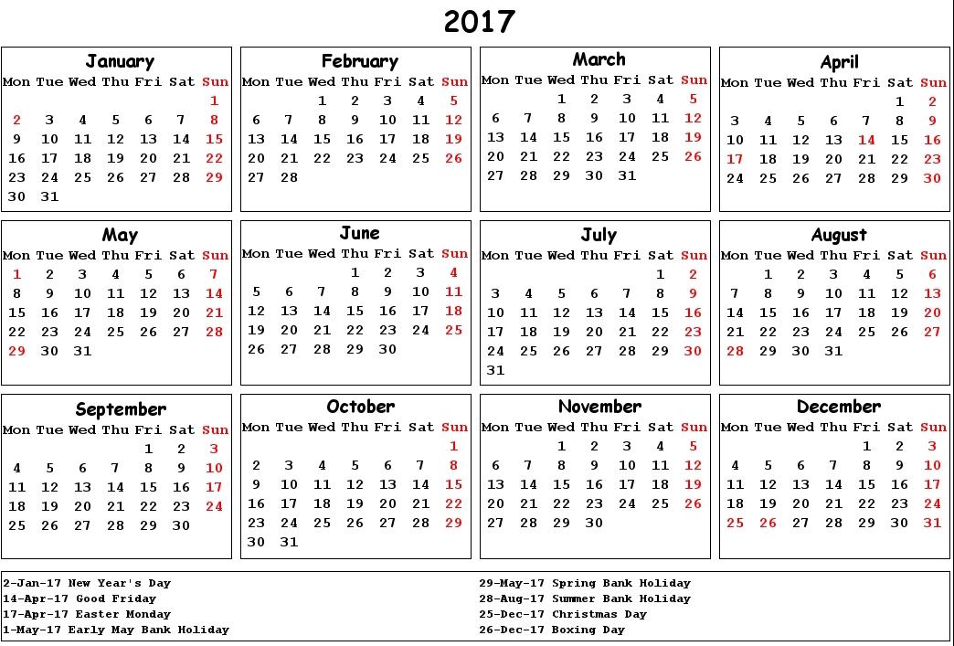 2017 Calendar UK Holidays | Printable Calendar Templates