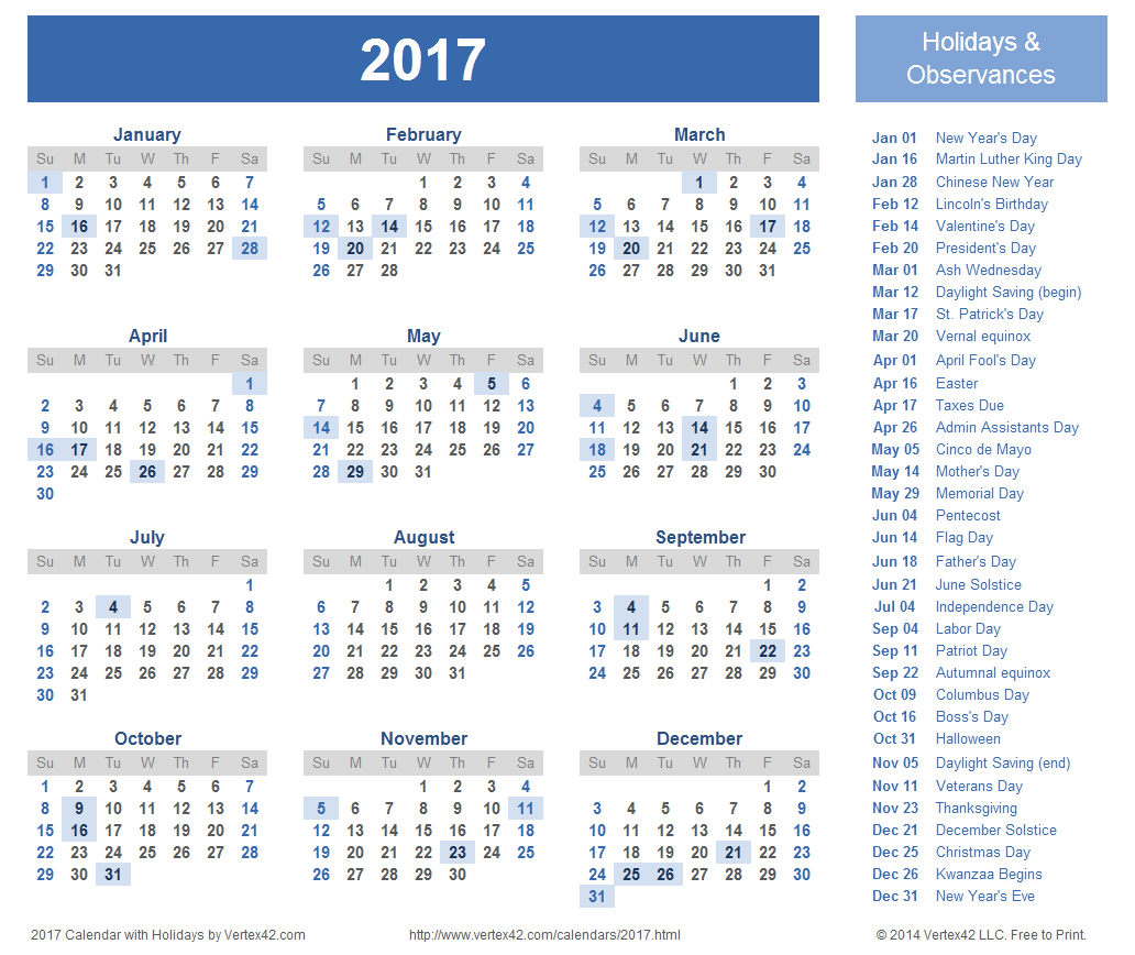 Calendar of 2017 (With Federal Public Holidays of USA) – Printable
