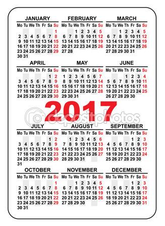 2017 Pocket Calendar Printable | yearly calendar printable