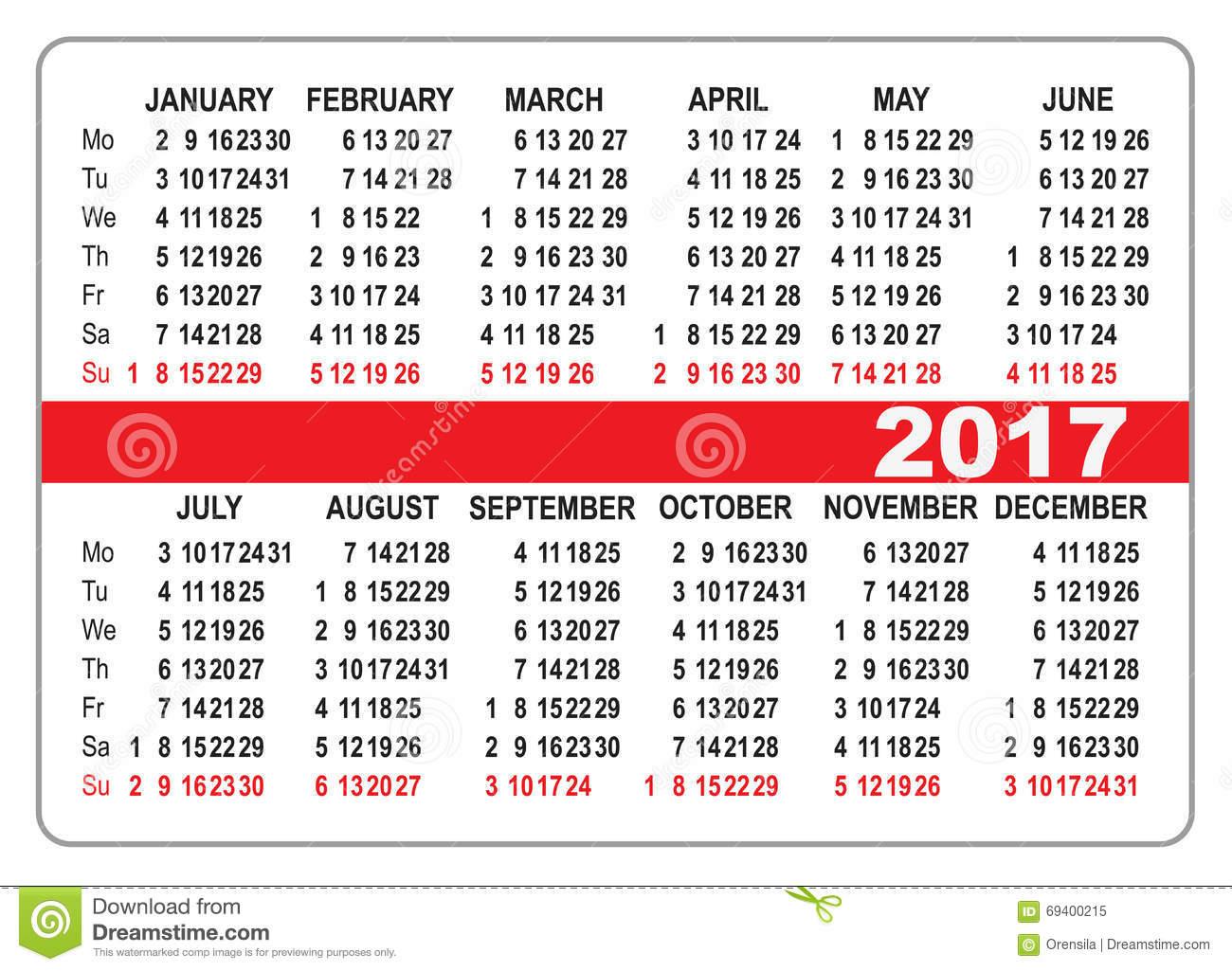2017 Pocket Calendar | yearly calendar template