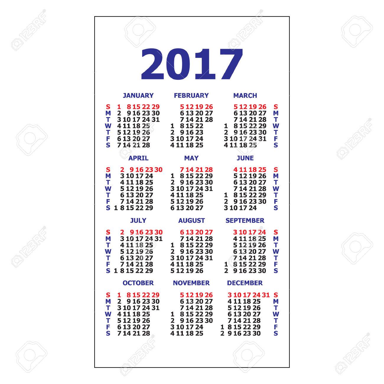 2017 Pocket Calendar. Template Calendar Grid. Vertical Orientation