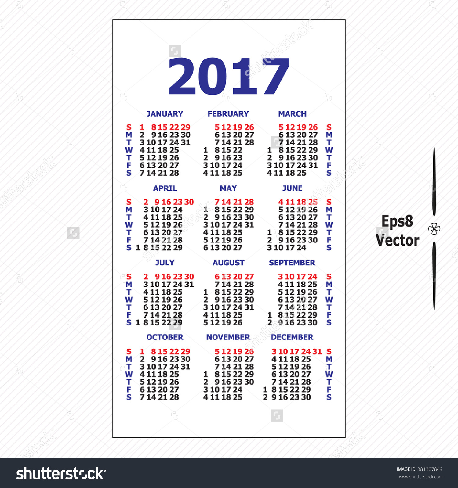 2017 Pocket Calendar Template Calendar Grid Stock Vector 381307849