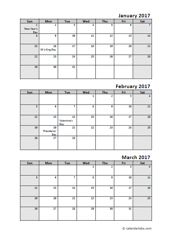2017 Quarterly Calendar With Holidays Free Printable Templates