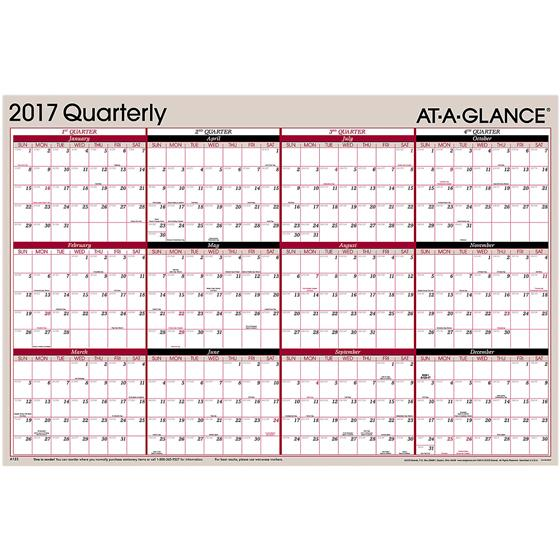 At A Glance A123, 2017 Quarterly Erasable Wall Calendar, 24 x 36