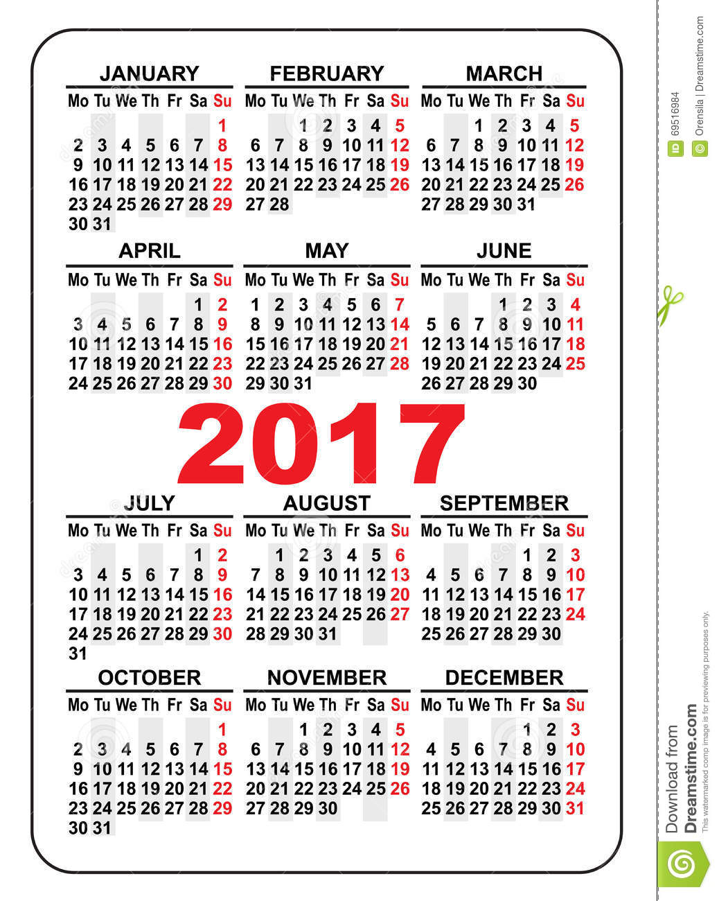 2017 Pocket Calendar | 2017 calendar with holidays