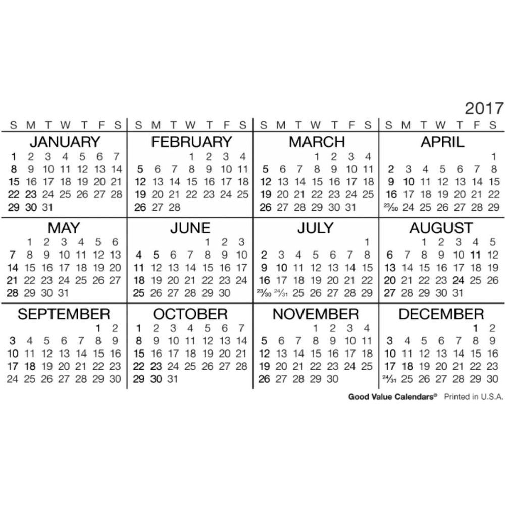 2017 Wallet Calendar | yearly calendar printable