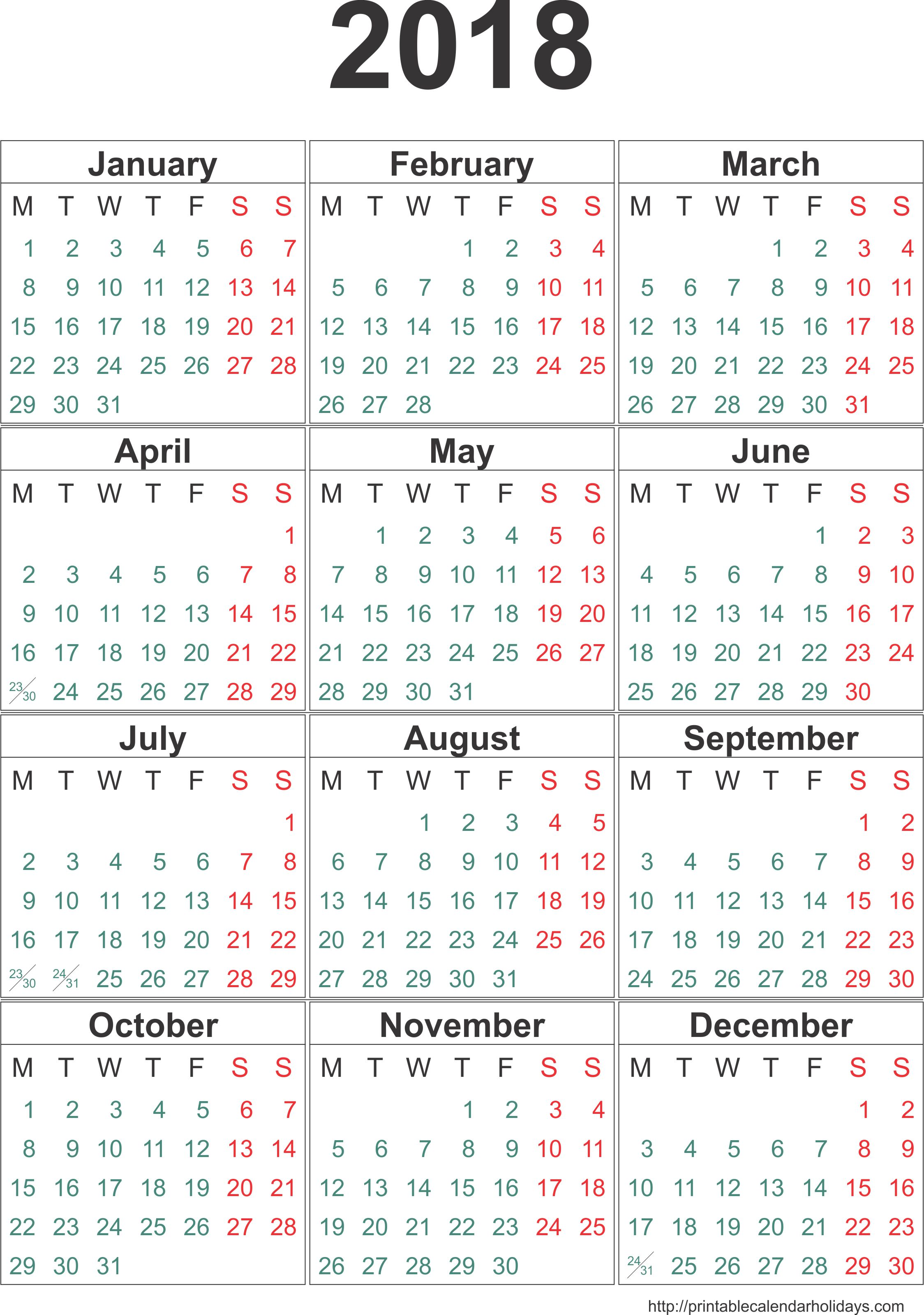 2018 Calendar By Month | yearly calendar template