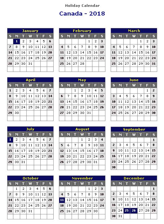 2018 Calendar Canada Holidays | printable calendar templates
