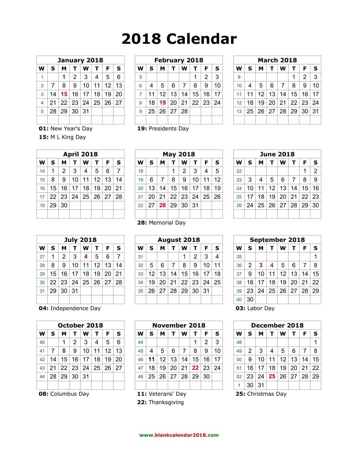 2018 Calendar Canada | printable calendar templates