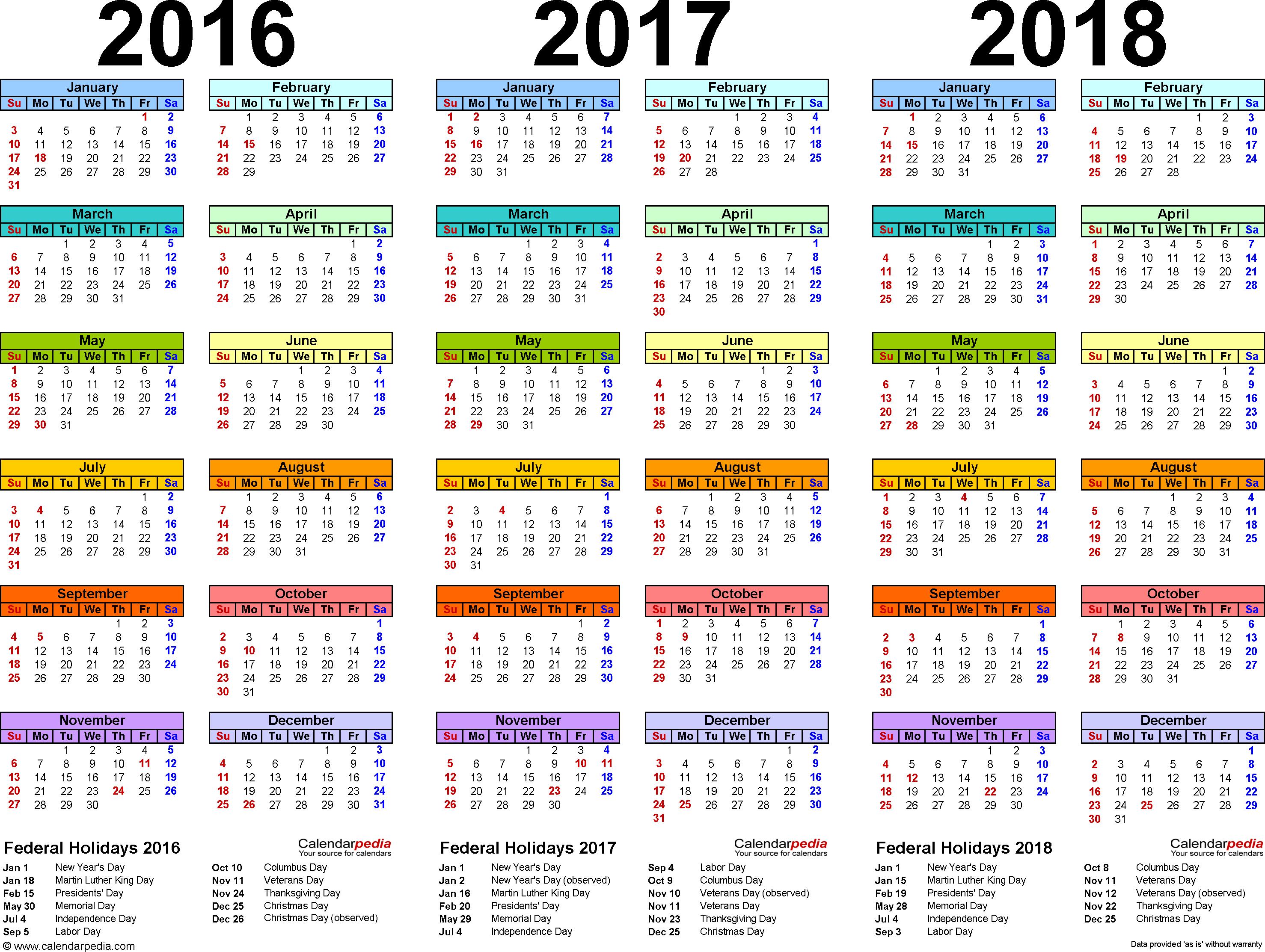 2016/2017/2018 calendar 4 three year printable PDF calendars
