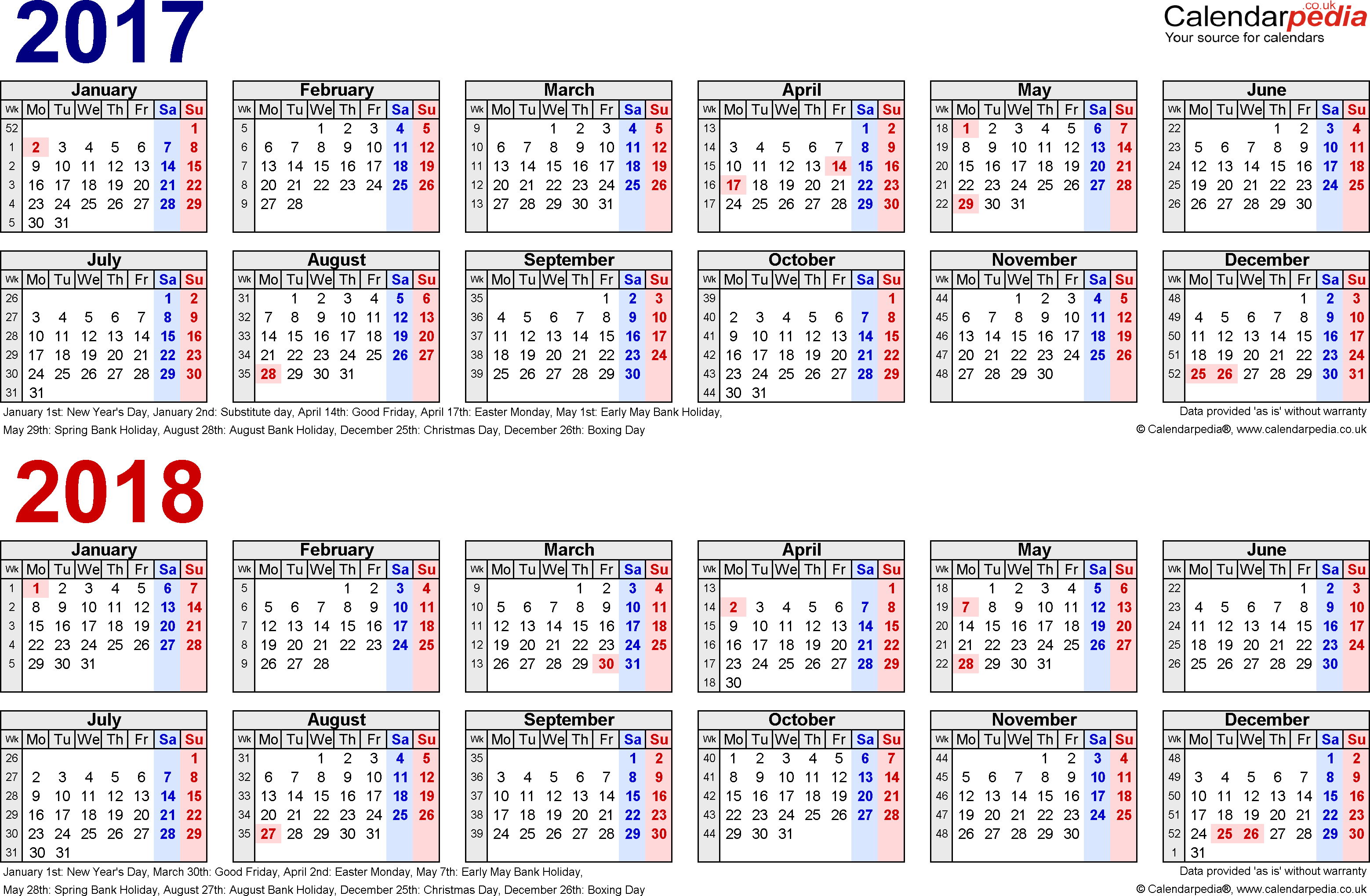 2018 Calendar In Word | yearly calendar printable