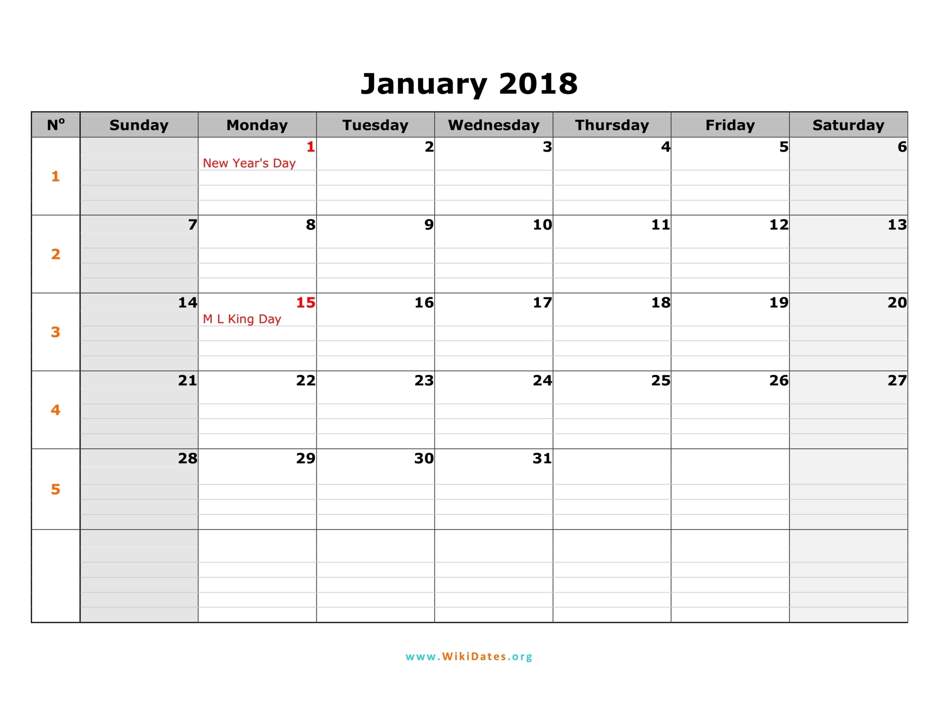 2018 Calendar Monthly | yearly calendar printable