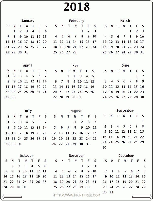 2018 Calendar Printable One Page | printable calendar templates