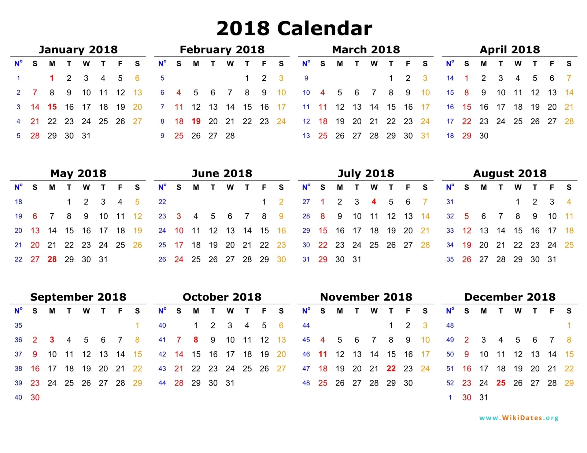 2018 Calendar | WikiDates.org