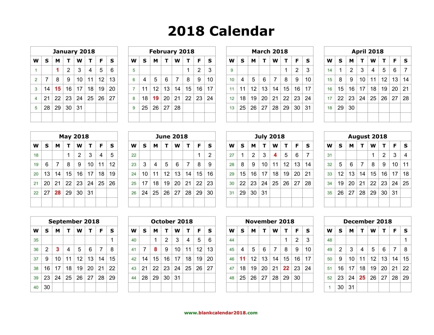 2018 Calendar Pdf | printable calendar templates