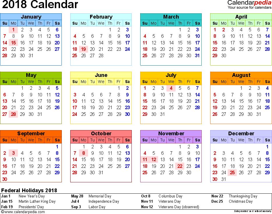 2018 Calendar PDF 17 free printable calendar templates