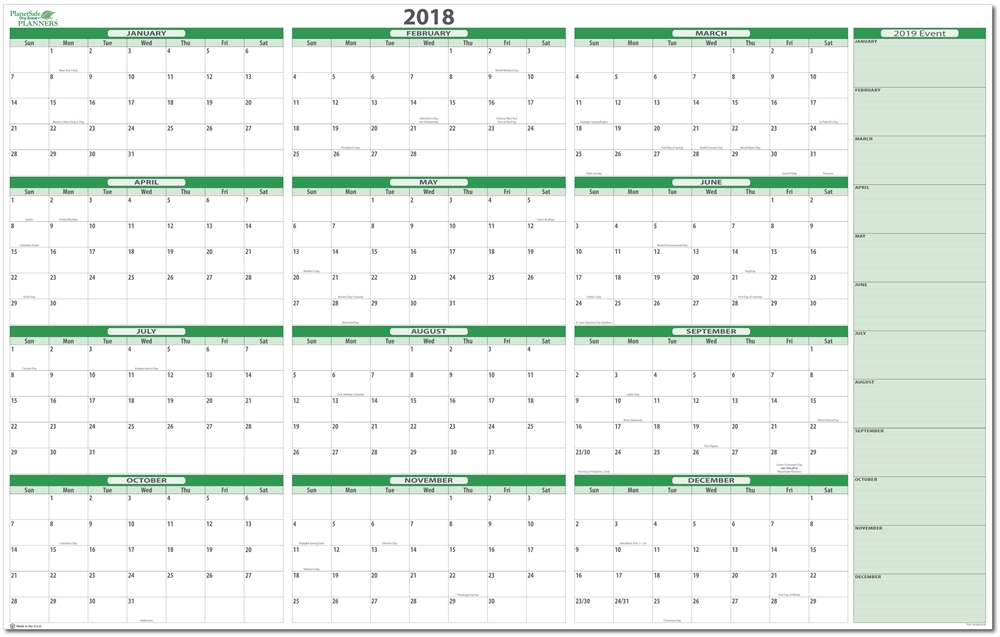 2018 Calendar Planner | yearly calendar template