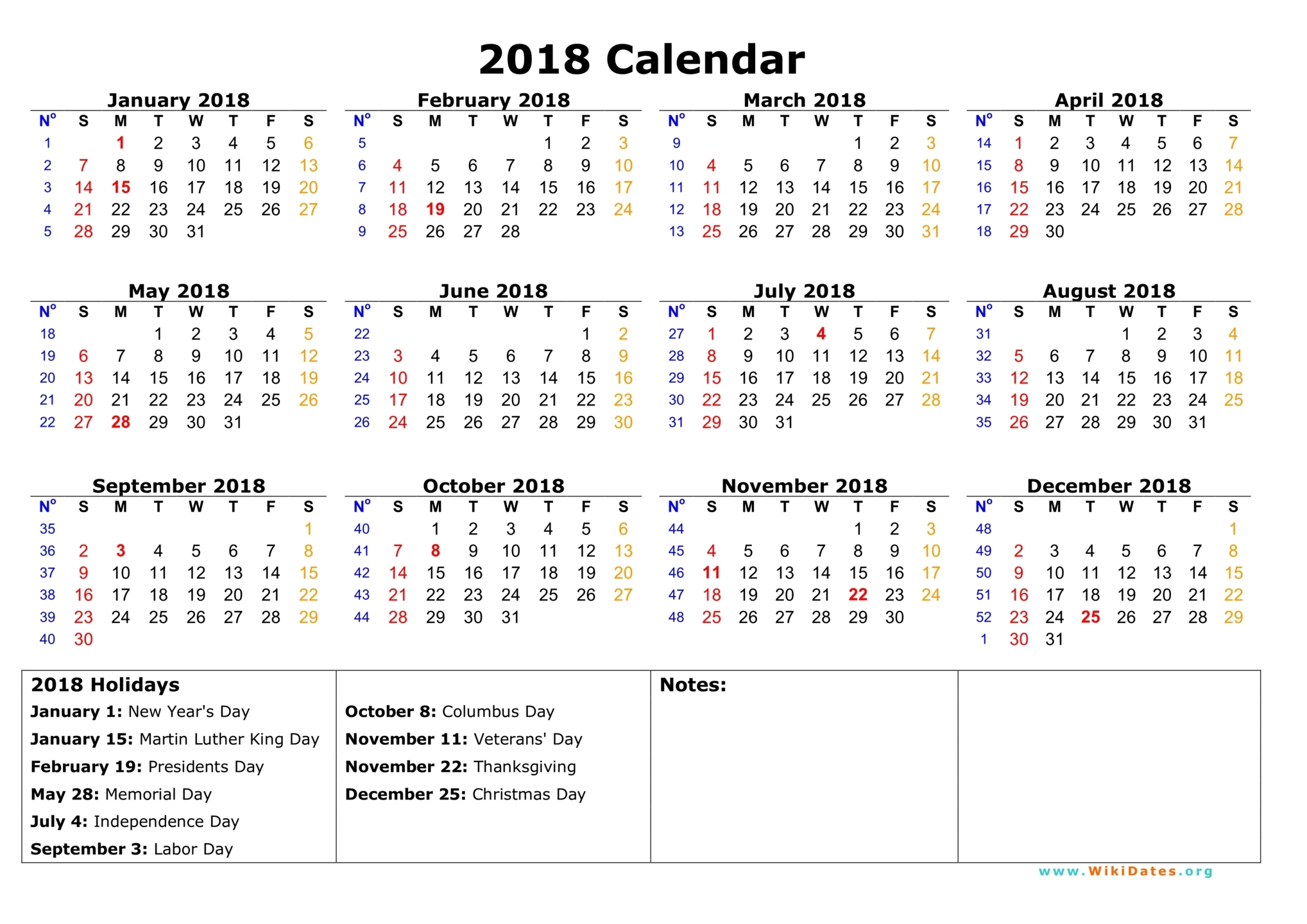 2018 Calendar With Holidays Printable | printable calendar templates