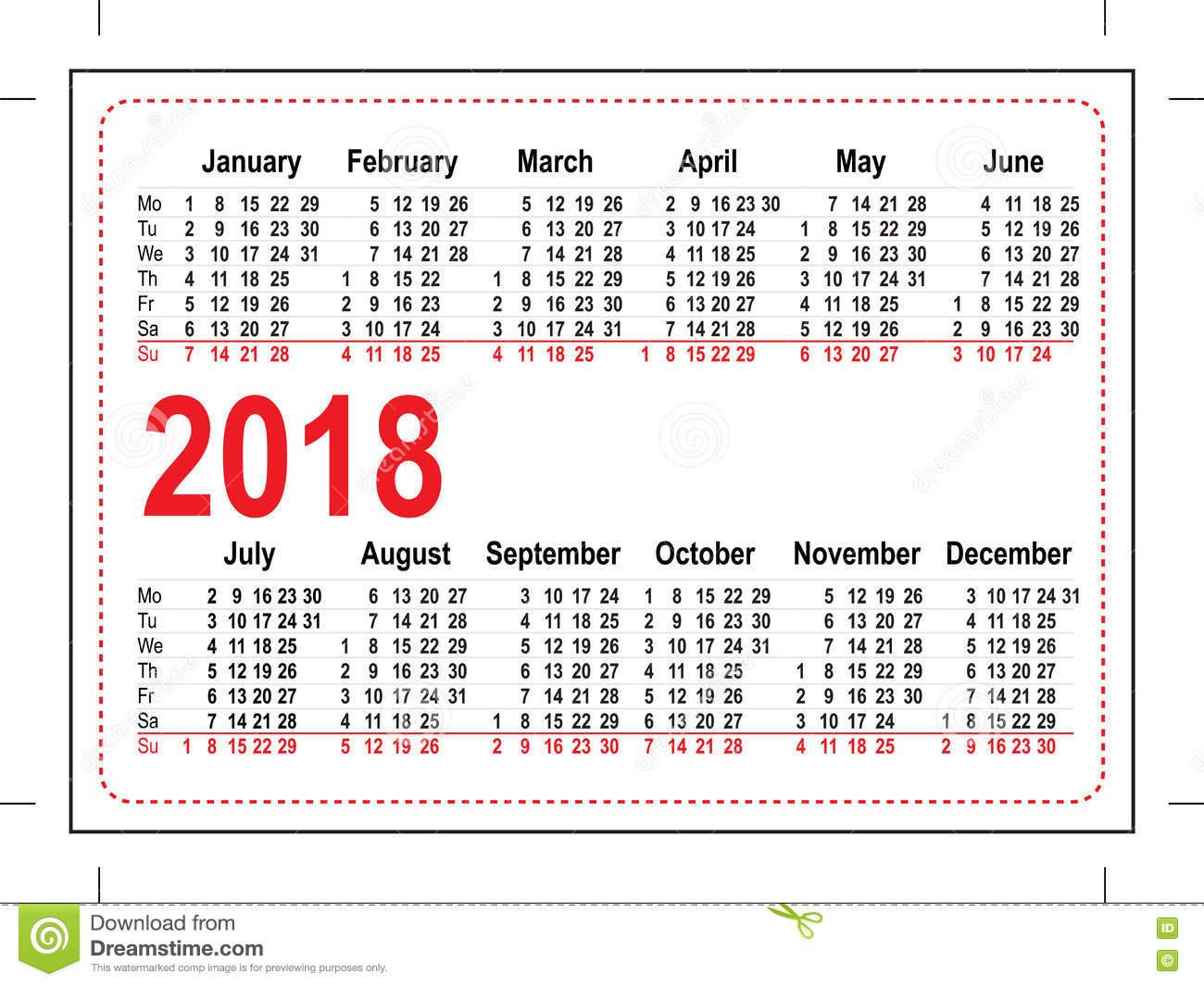 Grid Pocket Calendar 2018 Stock Vector Image: 74995966