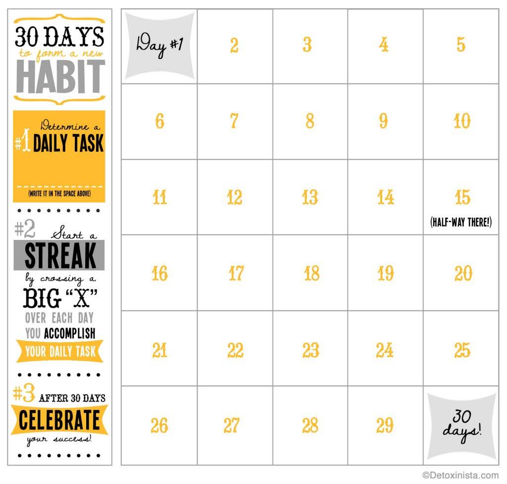 30 Day Printable Calendar | Detoxinista