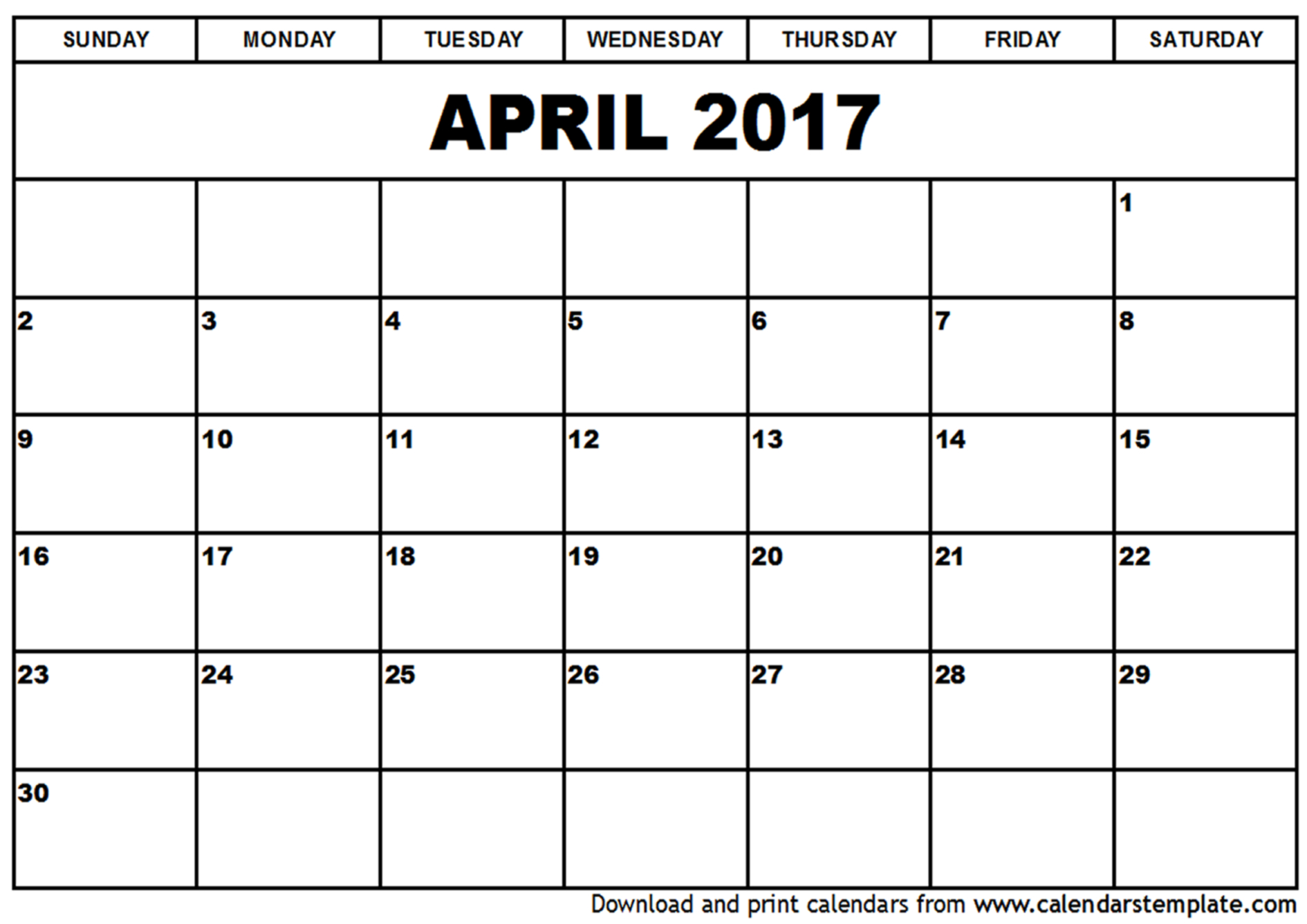 Free April 2017 Calendar (With US Holidays) – Printable Calendar