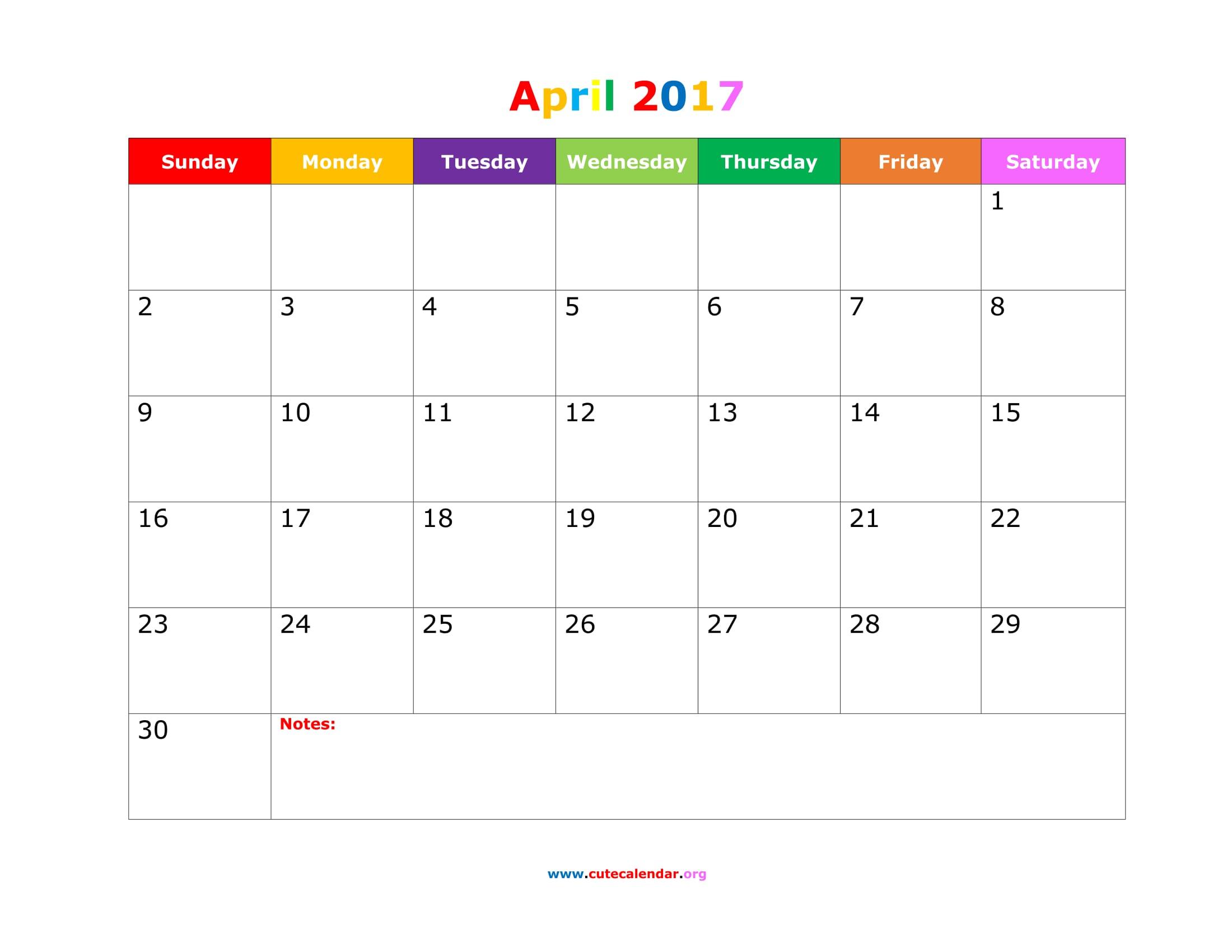 Cute April 2017 Calendar