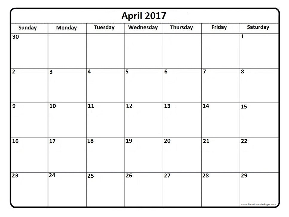 April 2017 Calendar With US Holidays – IsuCheer.com