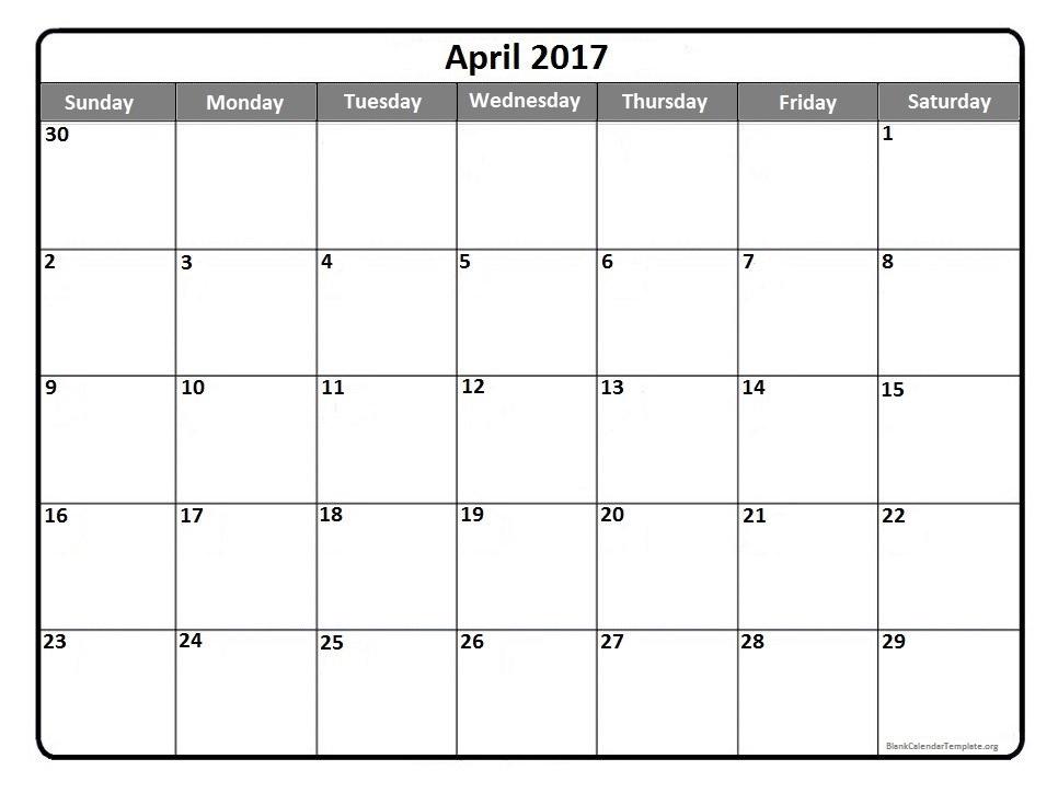 Calendar April 2017 Photo Album Jefney