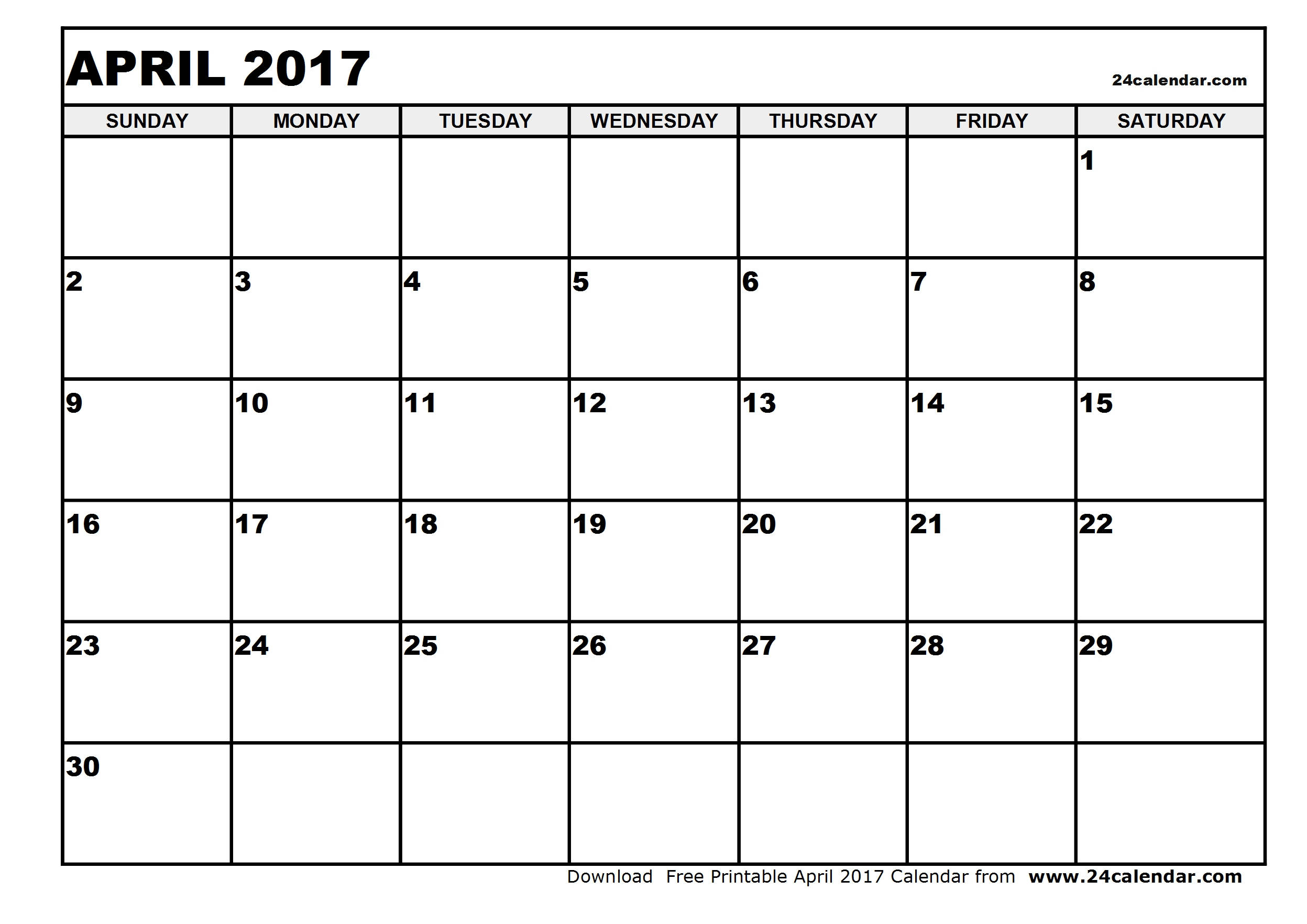 Blank April 2017 Calendar in Printable format.