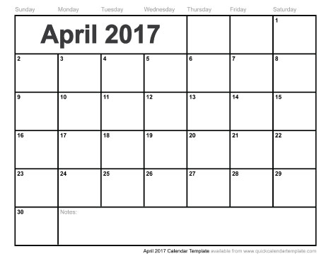 Blank April 2017 Calendar | weekly calendar template