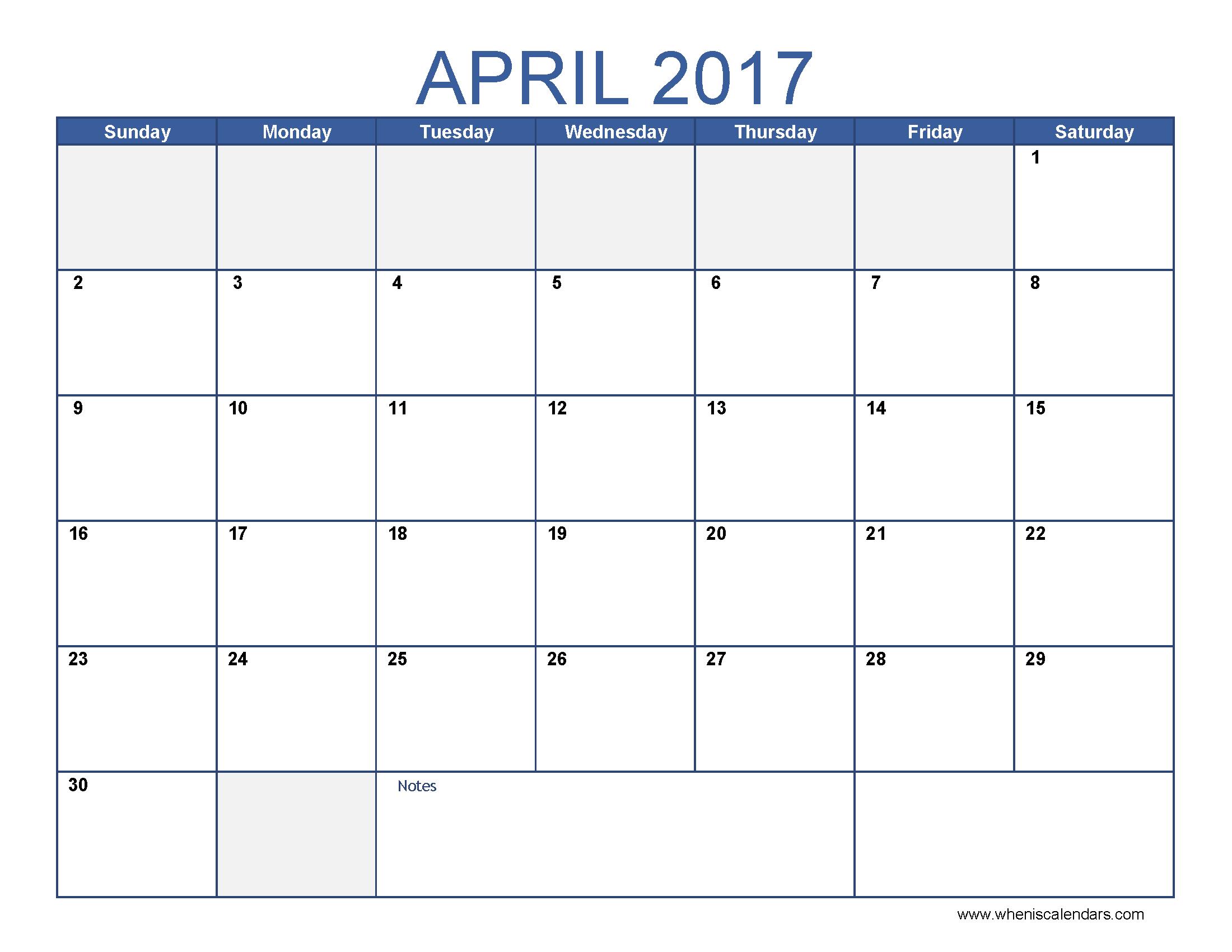 Free April 2017 Calendar Printable Templates – Webelations