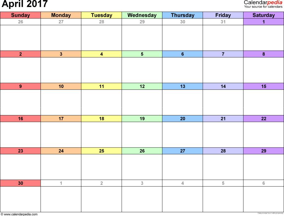 April 2017 Calendars for Word, Excel & PDF