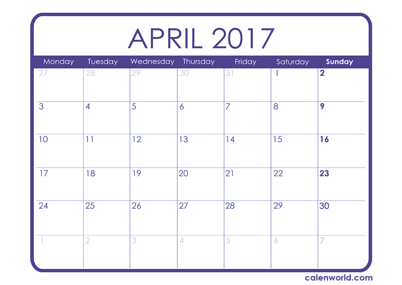 April 2017 Calendar Uk | monthly calendar printable