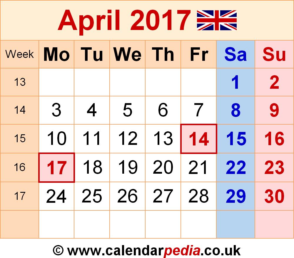 Calendar April 2017 UK, Bank Holidays, Excel/PDF/Word Templates