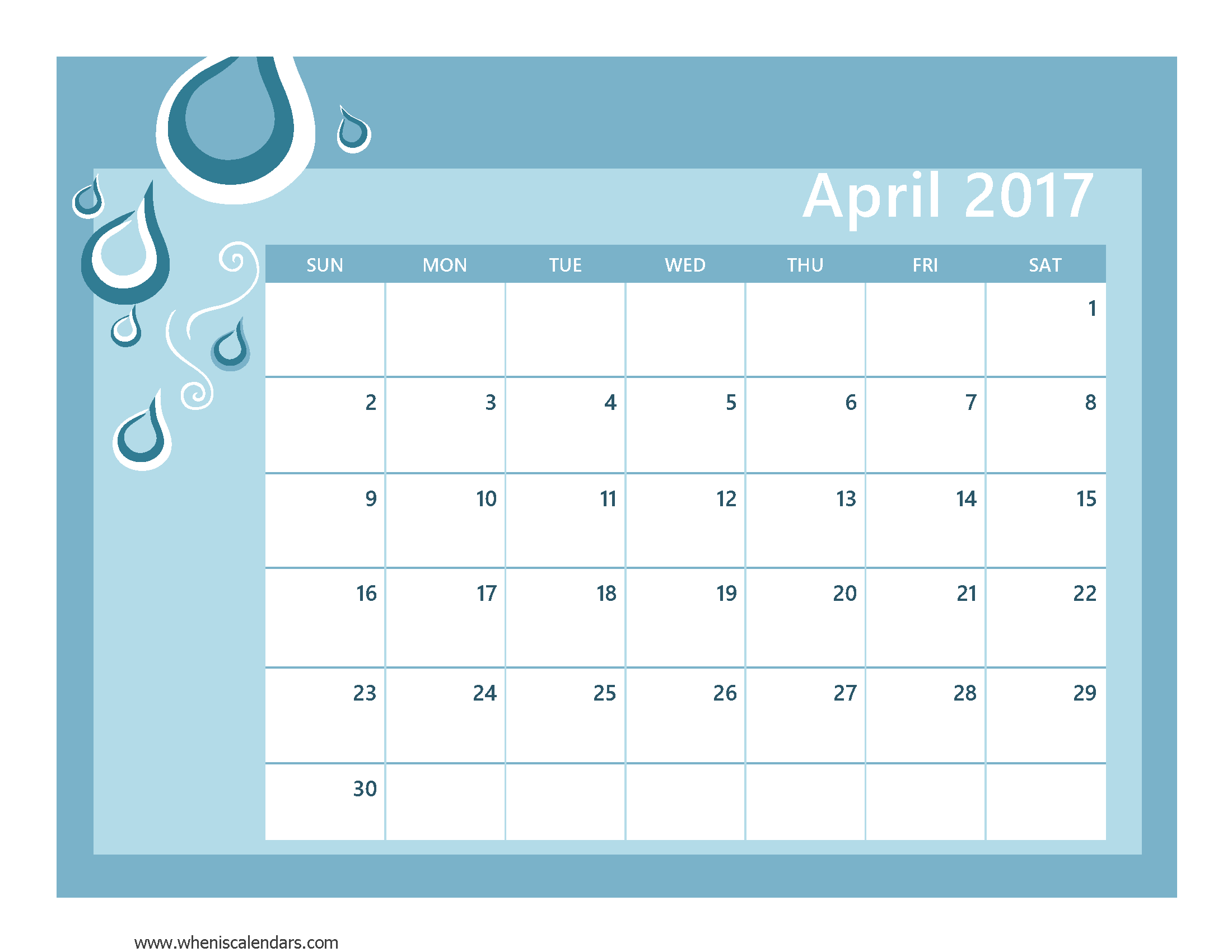 April 2017 Calendar With US Holidays