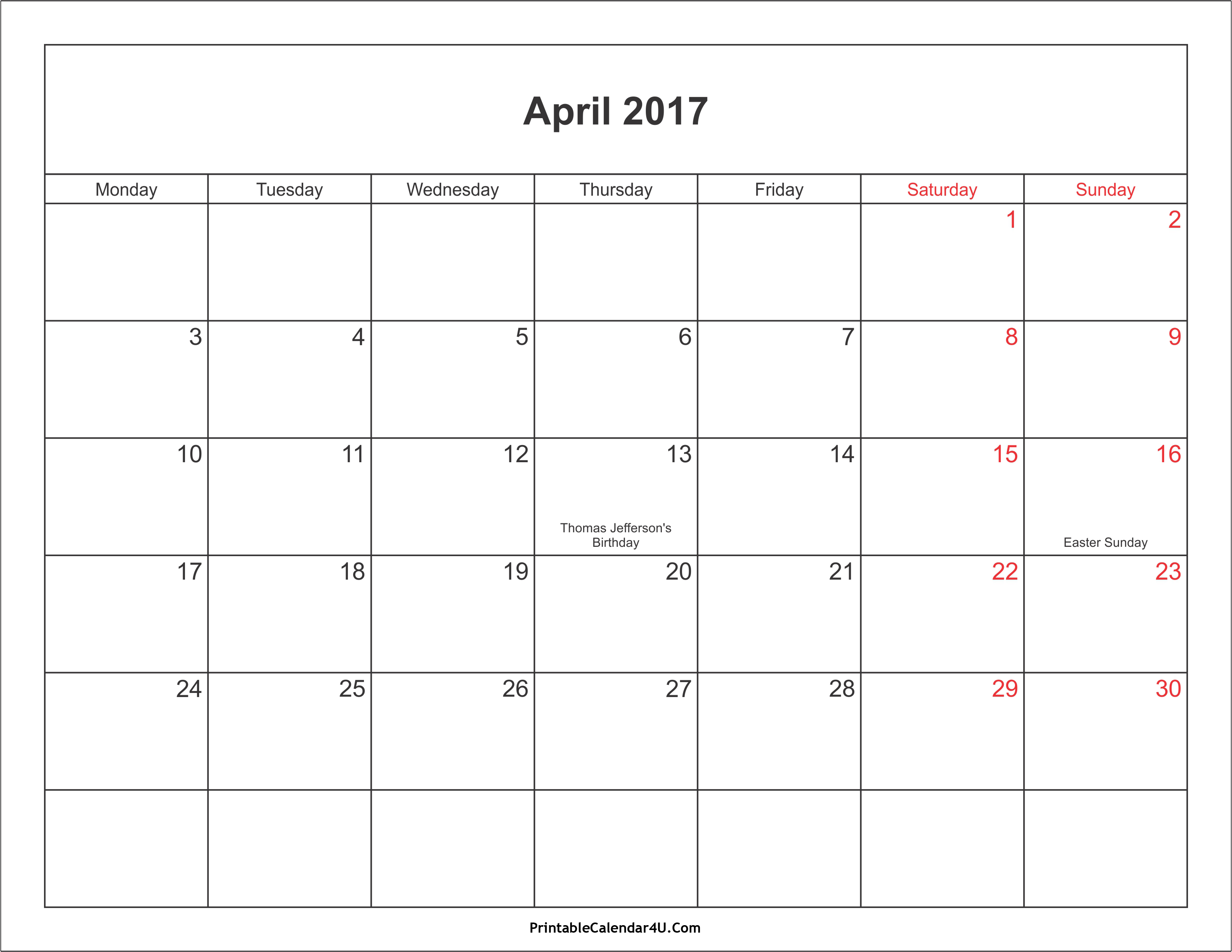 April 2017 Calendar With Holidays | weekly calendar template