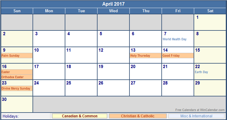 April 2017 Calendar With Holidays Usa | weekly calendar template