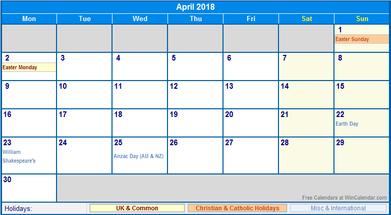 April 2018 Calendar With Holidays | yearly calendar printable