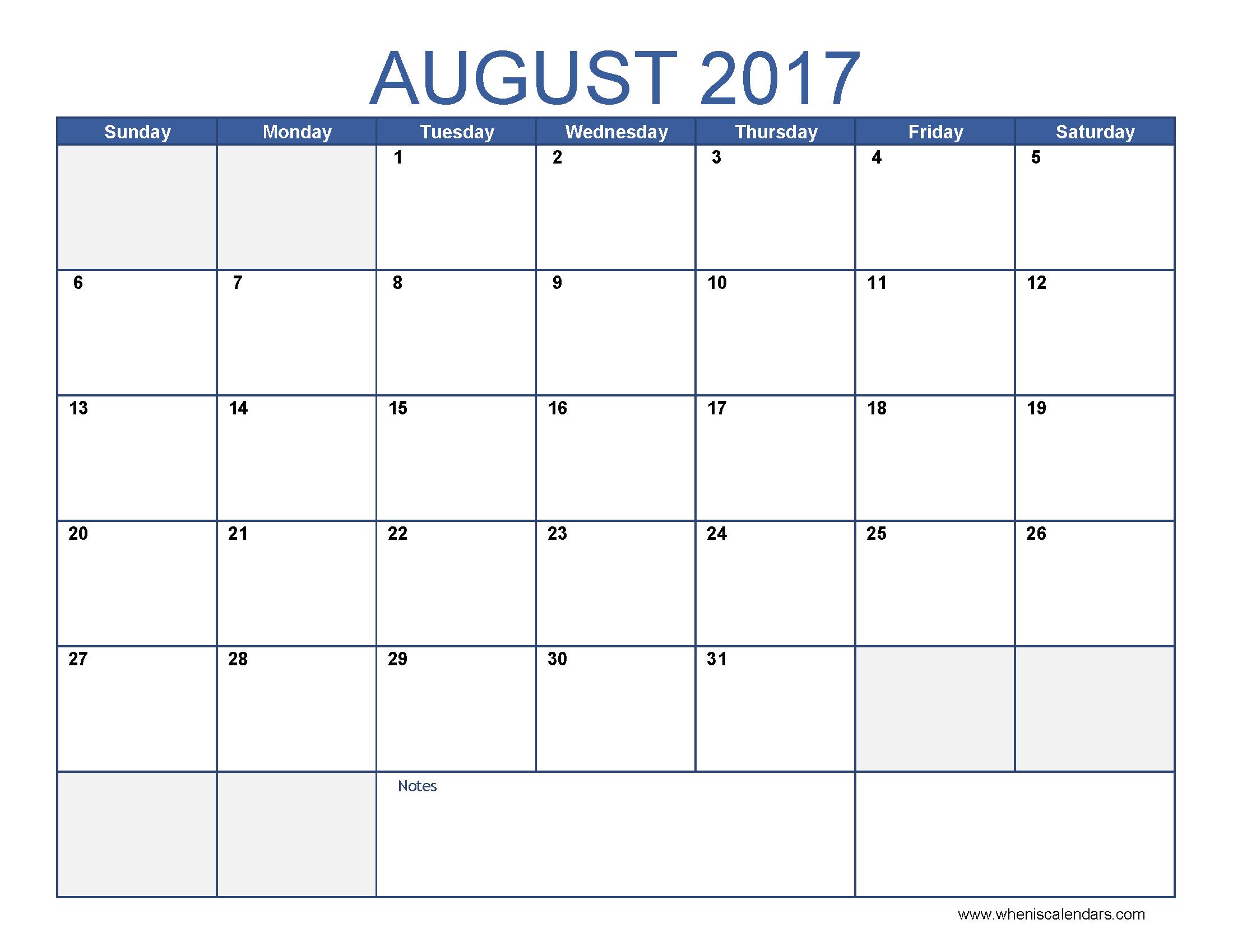 August 2017 Calendar Template | blank calendar printable