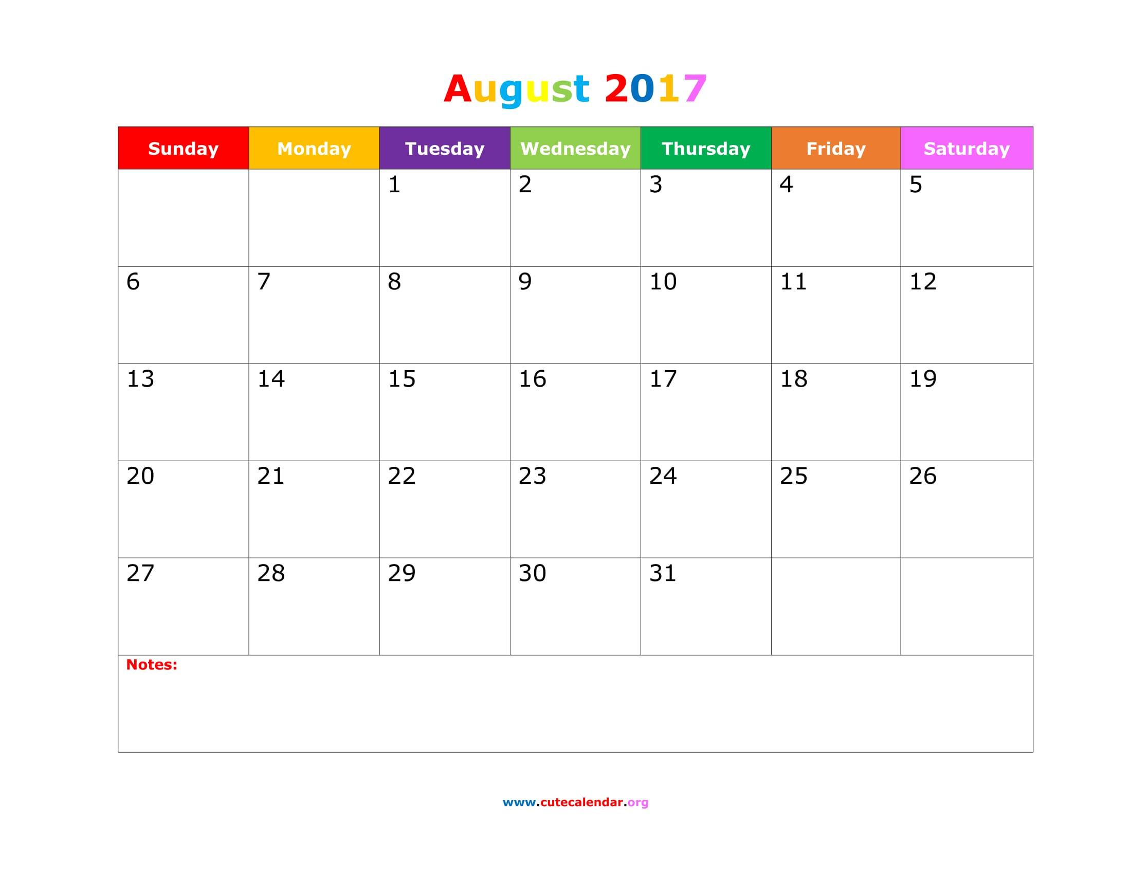 August 2017 Calendar Cute | blank calendar printable