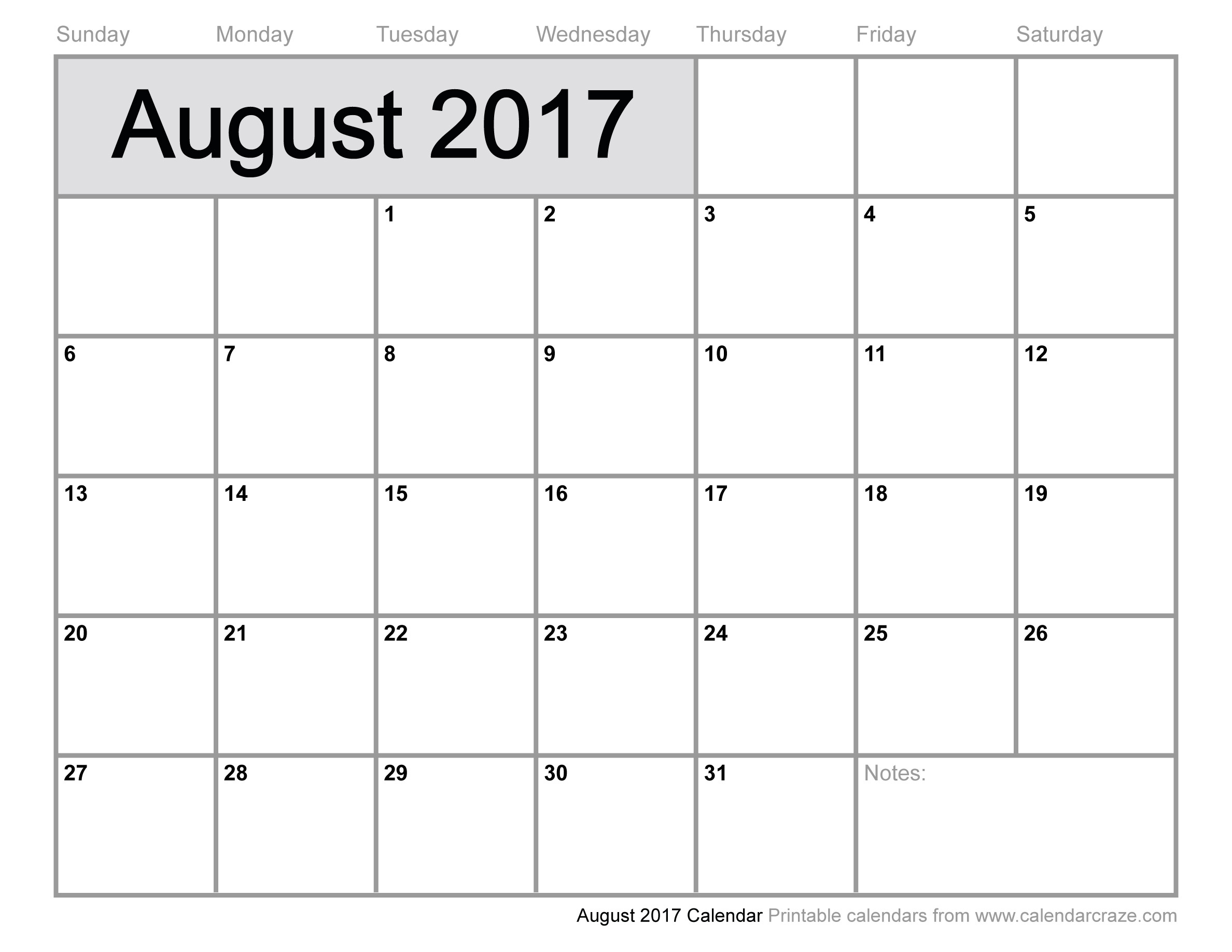 August 2017 Calendar Excel | weekly calendar template
