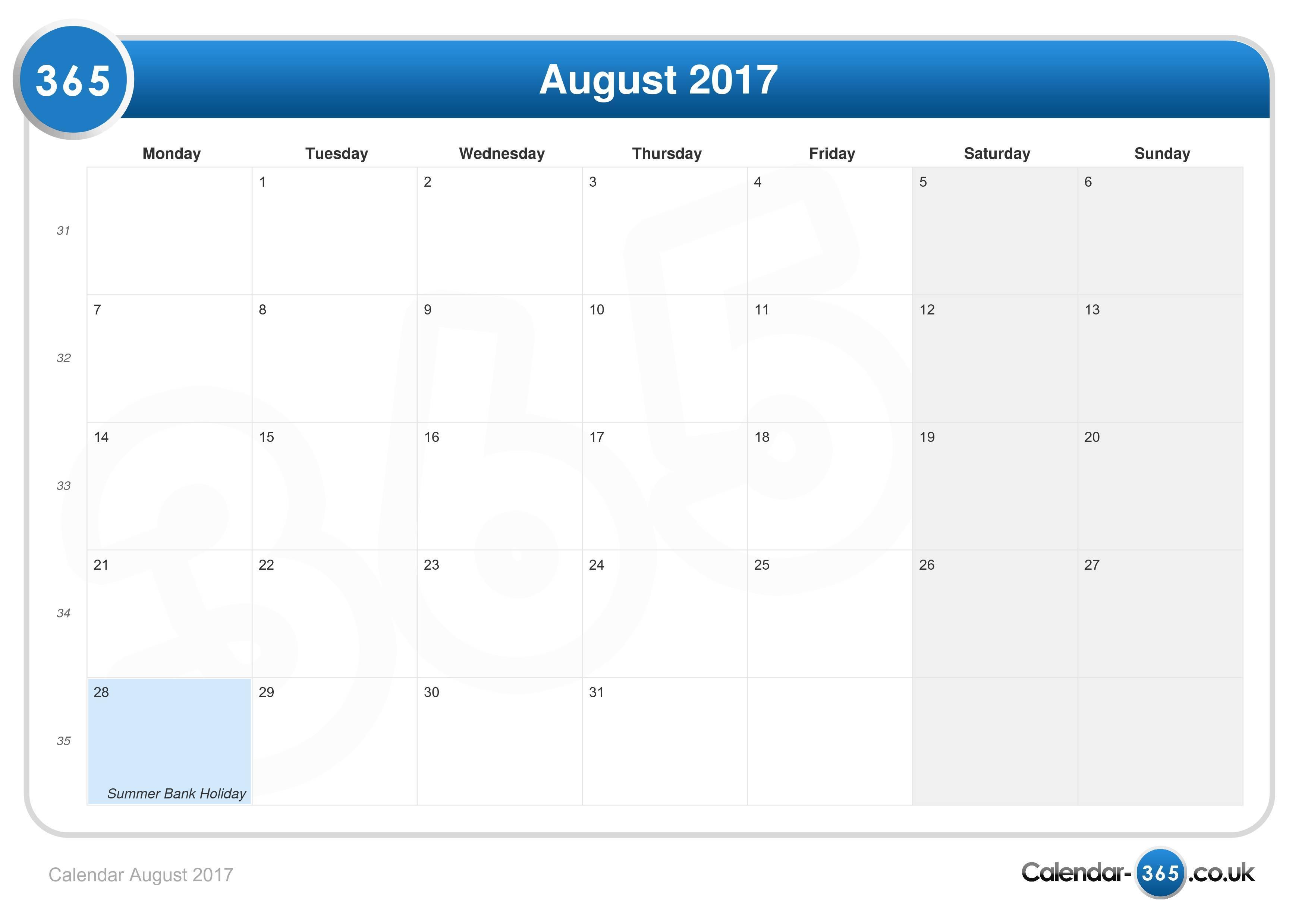 Calendar August 2017